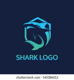 Shark Logo template. dark background vector illustrator eps.10