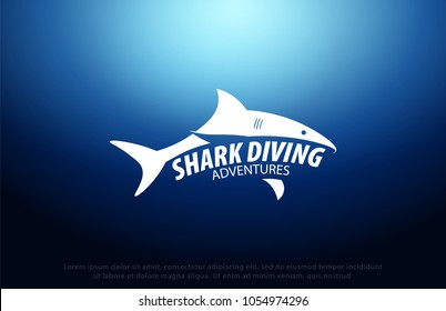 Shark logo with Underwater background with sun rays. Deep Ocean. Color vector illustration