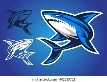 shark logo vector emblem illustration design idea creative