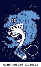 shark mad street art illustration design.