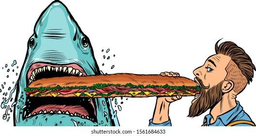 shark and man eating fast food sandwiches. Hunger and street food concept.. Pop art retro vector illustration drawing