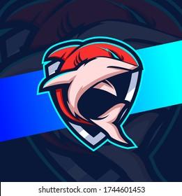 shark mascot esport logo designs