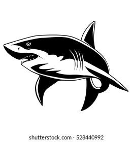 Shark mascot. Great white shark sign logo on a white background.