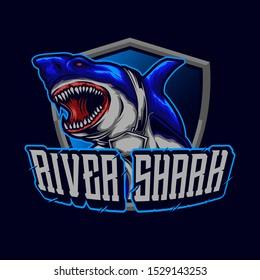 the shark mascot logo esport for tshirt design concept