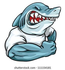 Shark mascot, team logo design, angry man-eater shark isolated