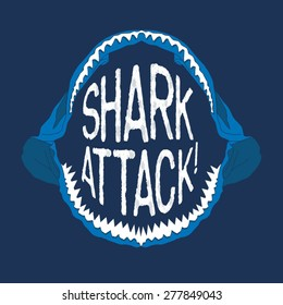 Shark mouth illustration, typography, t-shirt graphics, vectors