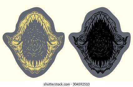 shark mouth open vector hand draw illustration