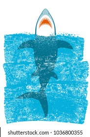 Shark in ocean blue waves.Vector background illustration