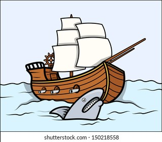 Shark and Old Ship in Sea - Vector Cartoon Illustration