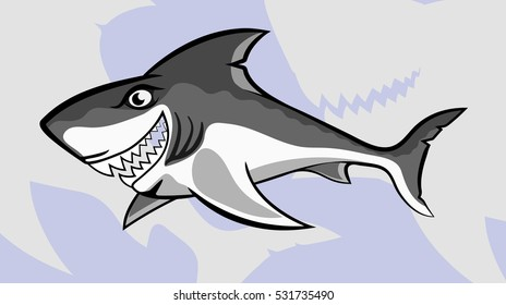 shark with open jaw, vector illustration