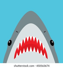 Shark with open mouth and sharp teeth. Vector illustration in flat style