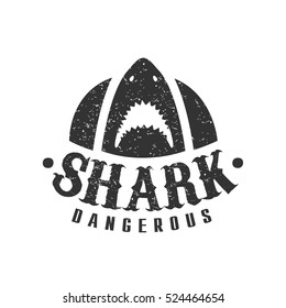 Shark With Open Mouth And Sharp Teeth Summer Surf Club Black White Stamp Dangerous