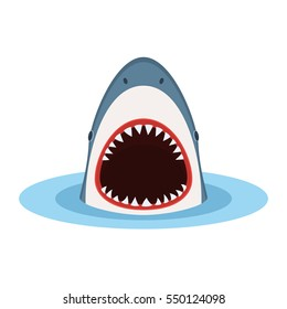 Shark with open mouth and sharp teeth, jump out of water. Danger concept. Vector illustration in flat style isolated on white background
