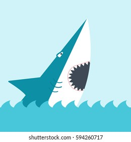 Shark with open mouth. side view