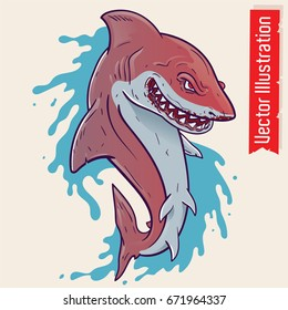 Shark with an open mouth. Shark tattoo. Prints on T-shirts. Element of advertising on banner, poster, maps, warning signs. Furious sight shark. Crazy shark. Vector illustration on white background.