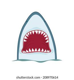 Shark open mouth, vector illustration on white background