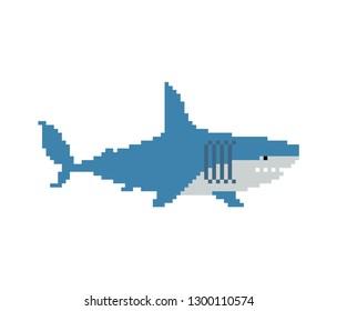 Shark pixel art. Marine predator 8 bit. graphics old game