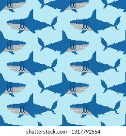 Shark pixel art pattern seamless. Marine predator 8 bit background. graphics old game texture