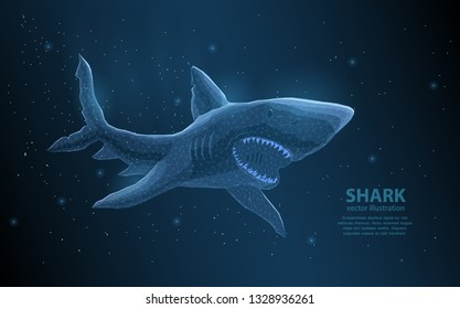 Shark polygonal vector illustration with lighting effects and a dark background. predator, purposeful, fearless, self-confident and ruthless. The power of excellence in business, or sports.
