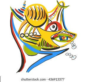 Shark with prey. Style of Abstract art, Suprematism, Constructivism. Design element suitable for prints, posters and covers.