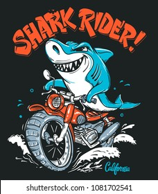 Shark Rider on motorcycle vector T-Shirt design.