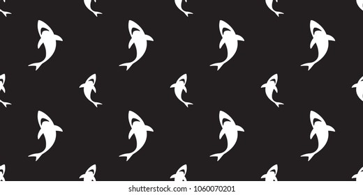 shark seamless pattern fin dolphin whale vector ocean wave island background wallpaper black
