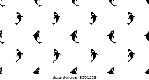 shark seamless pattern fin whale dolphin vector ocean wave island wallpaper background