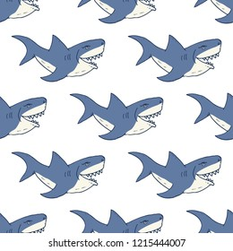 Shark seamless pattern, Hand drawn sketched doodle shark, vector illustration.