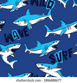 Shark seamless pattern vector print. Fun t-shirt design for kids.Vector illustration design for fashion fabrics, textile graphics, print.