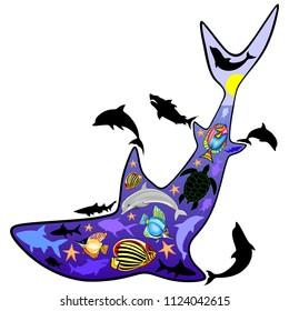 Shark Shape Marine Life Patterned Vector illustration