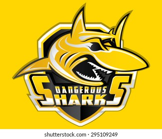 Shark Shield Sport Logo Vector Aggressive Fish Mascot Wildlife