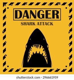 Shark sighting sign, Yellow danger shark attack background.