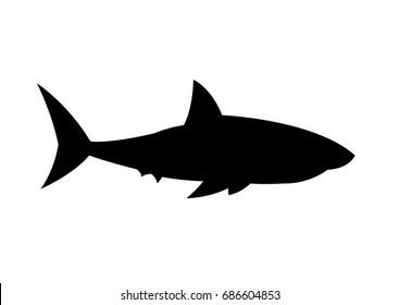 Shark silhouette vector illustration isolated