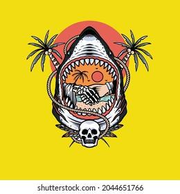 shark and skull with coconut tree
