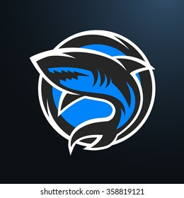 Shark sport logo, emblem on a dark background.