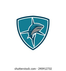 shark sports emblem on the shield vector illustration