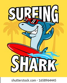 SHARK WITH SURF TABLE ON THE BEACH