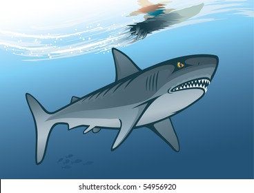 """Shark and surfer riding on water wave. """"Full compatible. Created with linear gradients. Named in layers"""""""