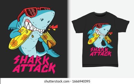 Shark surfing attack illustration with t shirt design, Hand drawn