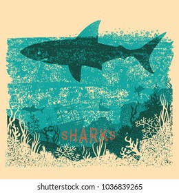 Shark swimming in sea on old paper poster background with text.Vintage sea poster on old paper