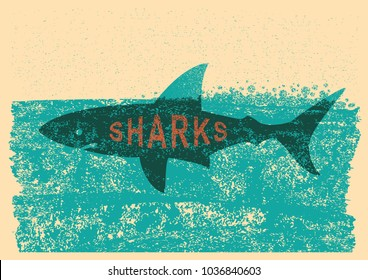 Shark swimming in sea on old paper poster background with text