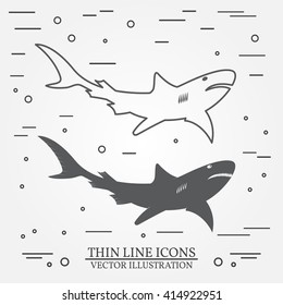 Shark thin line design. Shark pen Icon. Shark Icon. Shark pen Icon Drawing. Shark pen Icon Image.Shark  Icon Graphic. Shark pen Icon Art. Thin line icon.