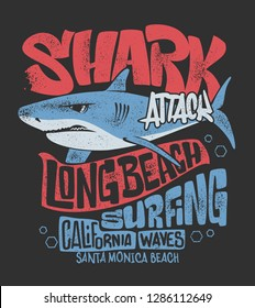 Shark t-shirt surf print design, vector illustration.