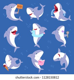 Shark vector cartoon seafish smiling with sharp teeth illustration set of fishery character illustration kids set of playing or crying baby fish isolated on marine background