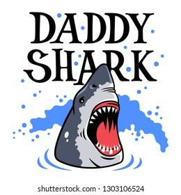 Shark vector illustration for men's T-shirt design. Funny Graphic Tee