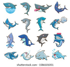 shark vector set collection graphic clipart design