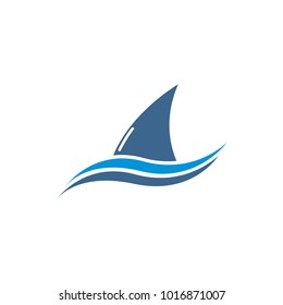 Shark, Whale, Dolphin Fin and wave Logo Template
