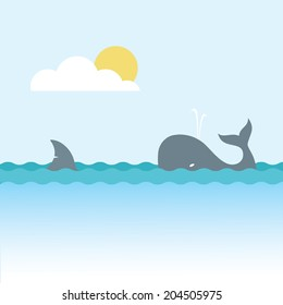 Shark and whale - vector illustration