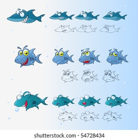 Sharks cartoon characters with emotions sets