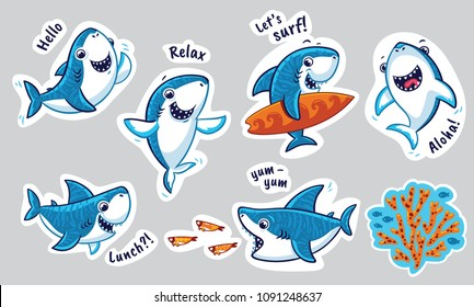 Sharks catoon characters in vector. Ideal for stickers, pins or patches